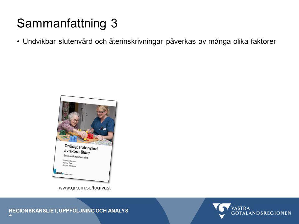 Sammanfattning 3 Undvikbar slutenvård och återinskrivningar påverkas av många olika faktorer. www.grkom.se/fouivast.