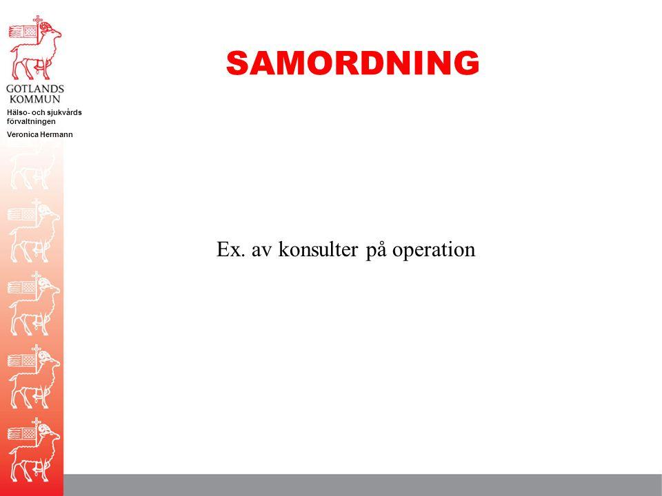SAMORDNING Ex. av konsulter på operation