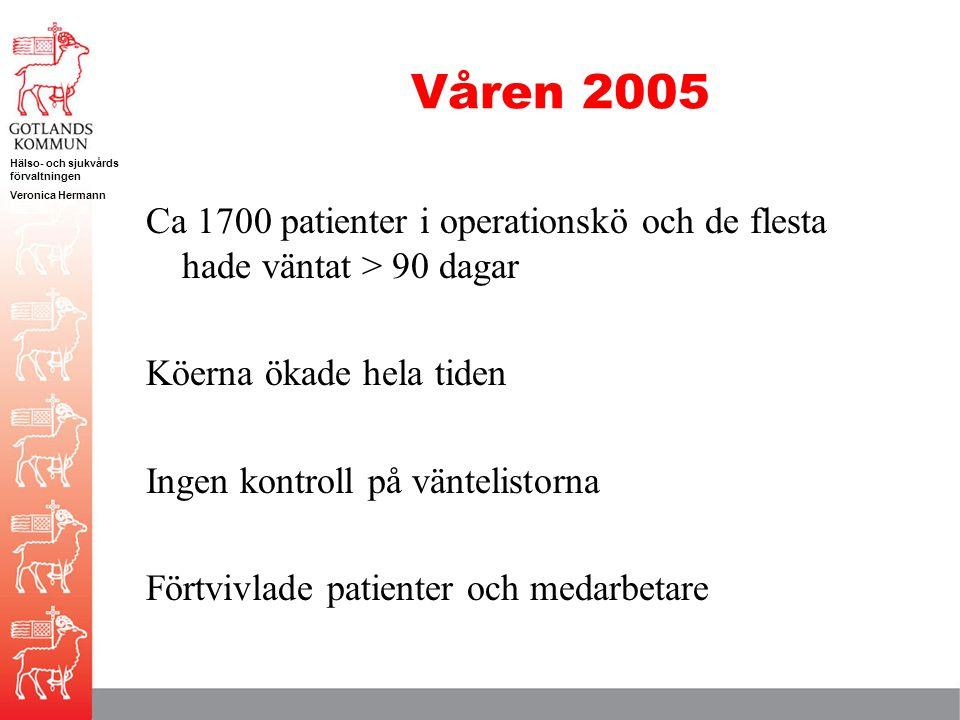 Våren 2005 Ca 1700 patienter i operationskö och de flesta hade väntat > 90 dagar. Köerna ökade hela tiden.