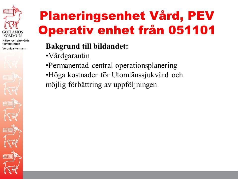 Planeringsenhet Vård, PEV Operativ enhet från 051101