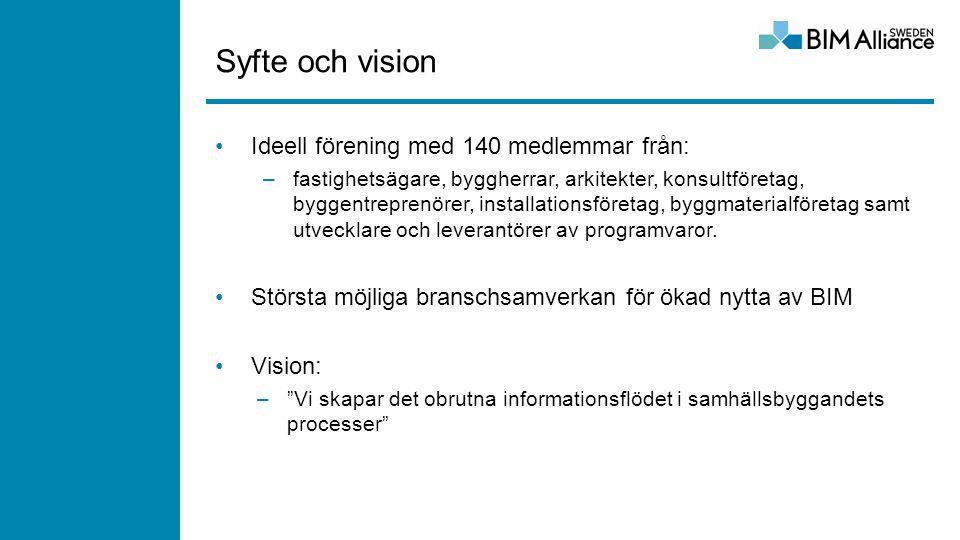 Syfte och vision Ideell förening med 140 medlemmar från: