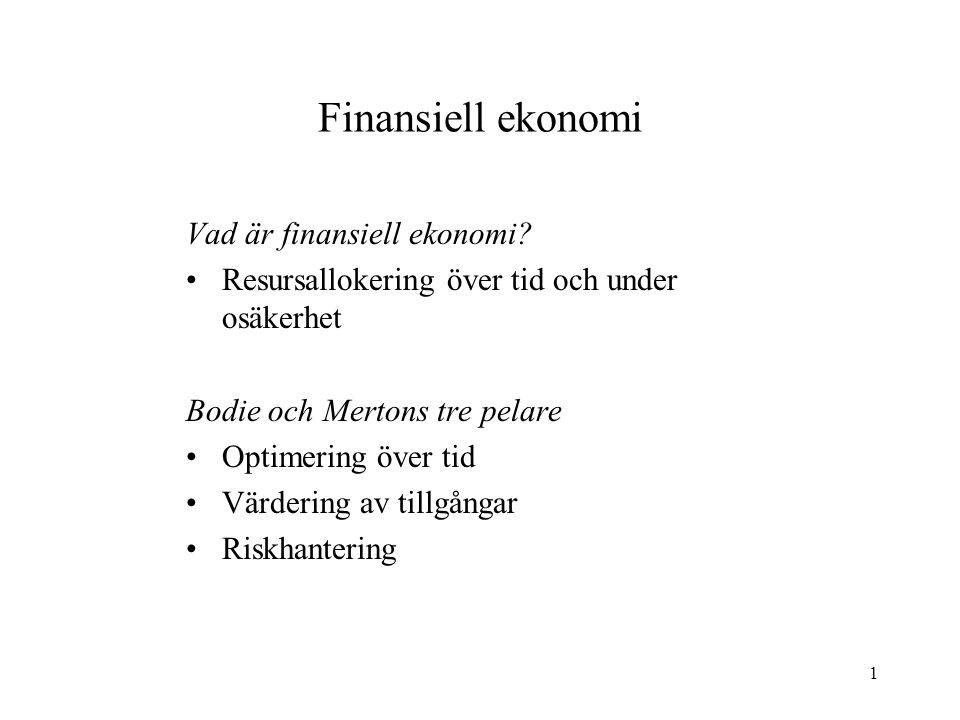 Finansiell ekonomi Vad är finansiell ekonomi