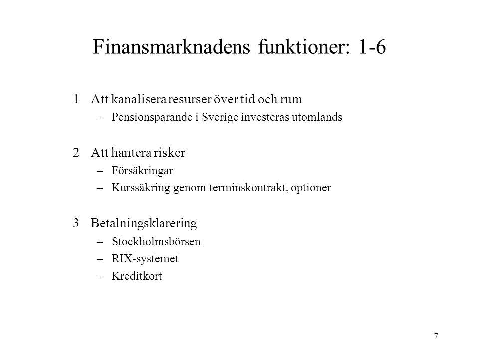 Finansmarknadens funktioner: 1-6