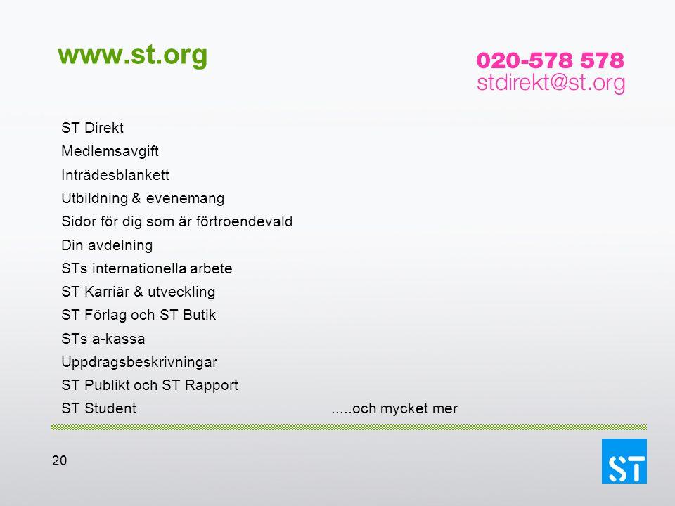 www.st.org ST Direkt Medlemsavgift Inträdesblankett