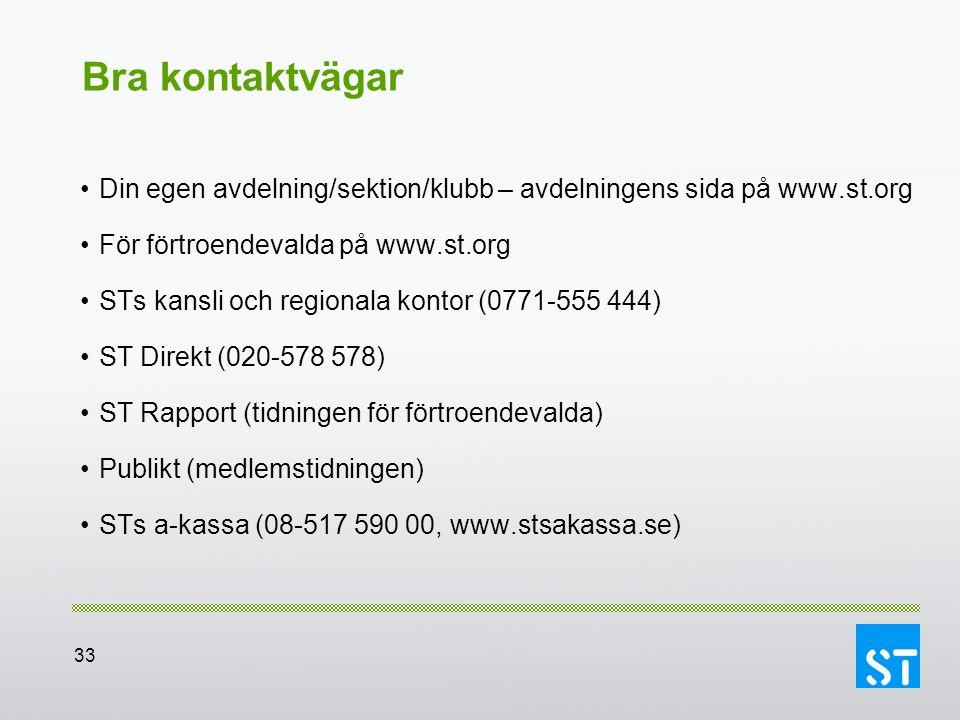 Bra kontaktvägar Din egen avdelning/sektion/klubb – avdelningens sida på www.st.org. För förtroendevalda på www.st.org.
