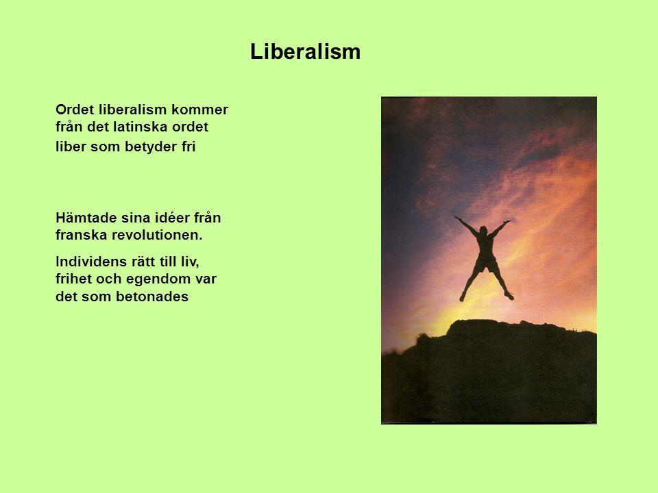 Liberalism Ordet liberalism kommer från det latinska ordet liber som betyder fri. Hämtade sina idéer från franska revolutionen.