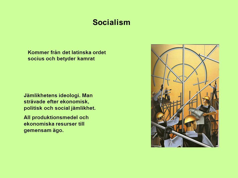 Socialism Kommer från det latinska ordet socius och betyder kamrat