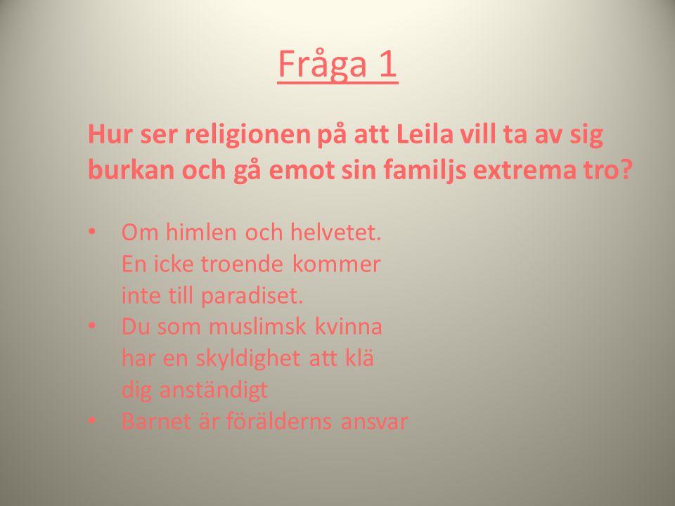 Fråga 1 Hur ser religionen på att Leila vill ta av sig burkan och gå emot sin familjs extrema tro