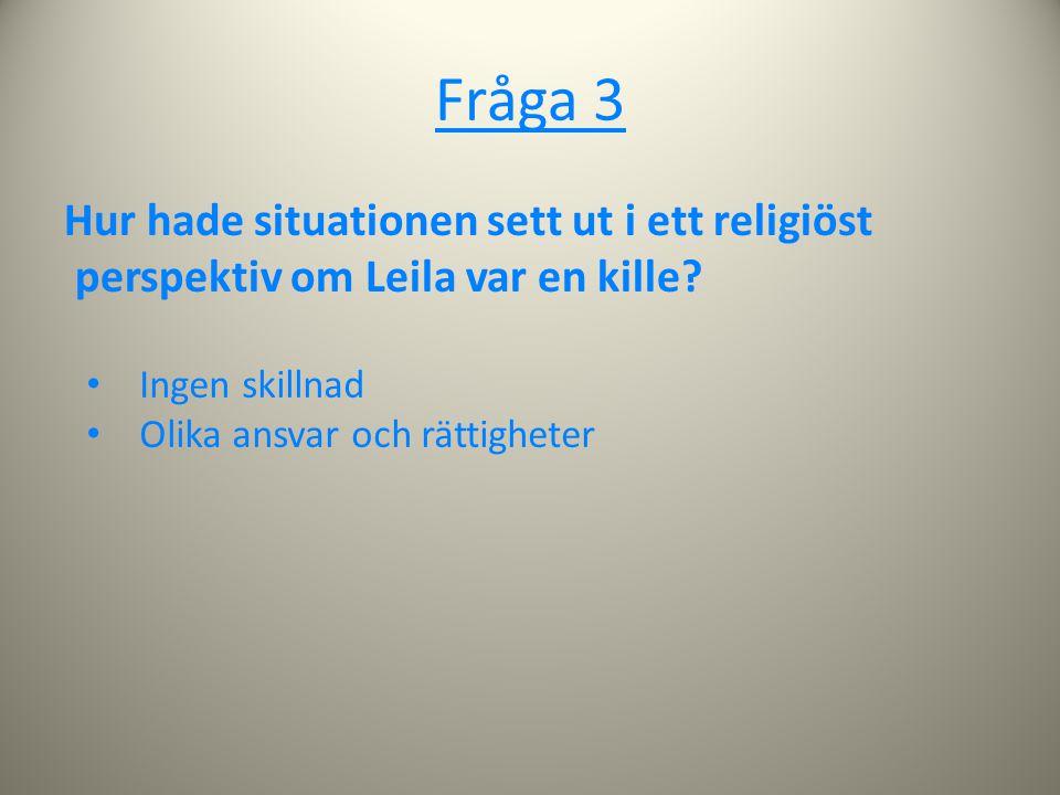 Fråga 3 Hur hade situationen sett ut i ett religiöst perspektiv om Leila var en kille Ingen skillnad.