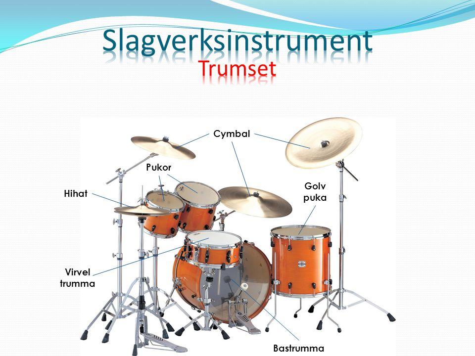 Slagverksinstrument Trumset Cymbal Pukor Golv puka Hihat Virvel trumma