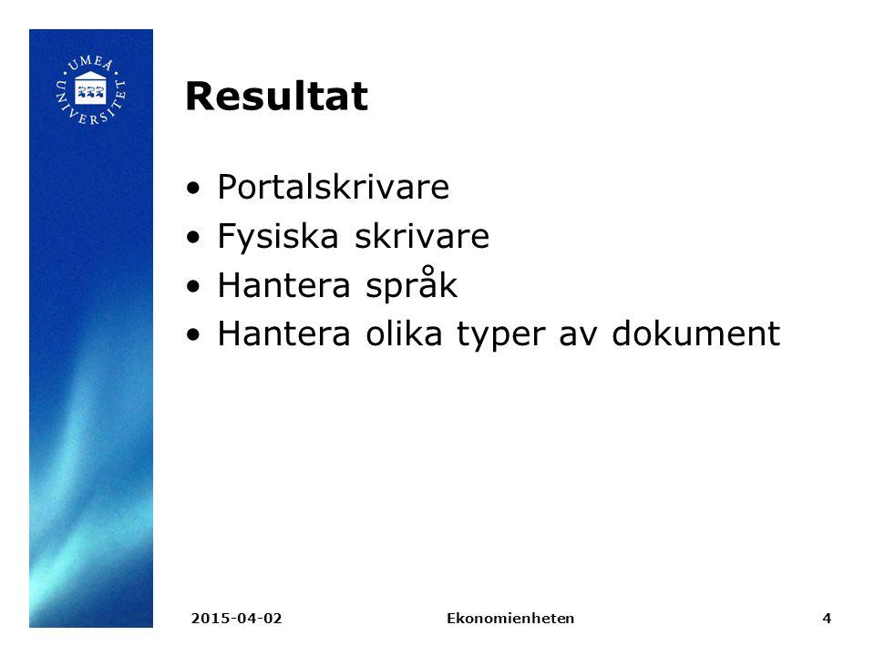 Resultat Portalskrivare Fysiska skrivare Hantera språk