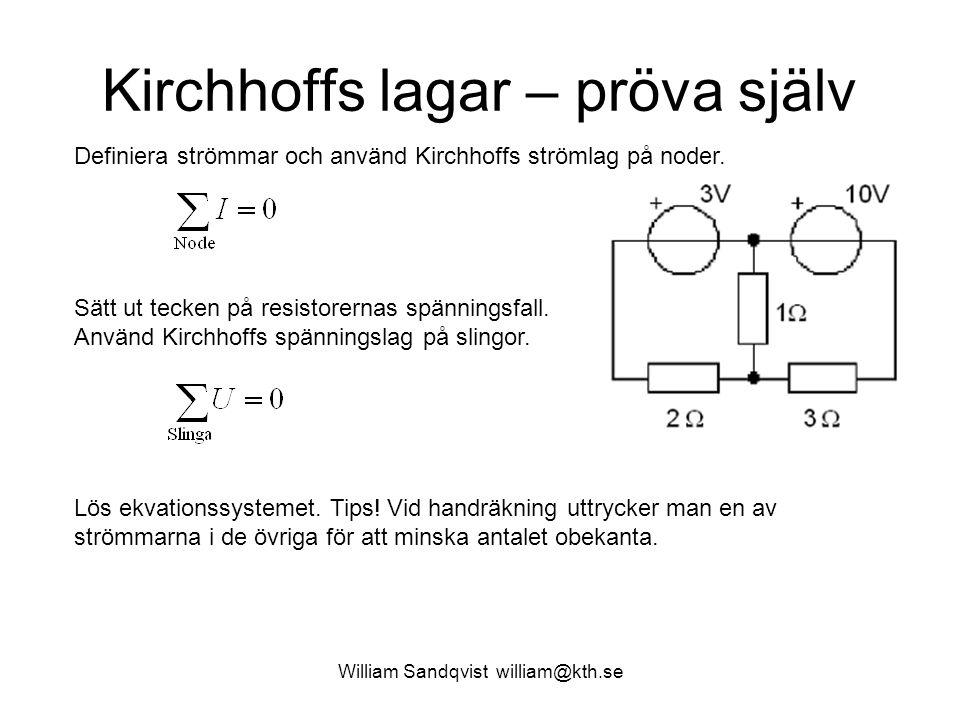 Kirchhoffs lagar – pröva själv
