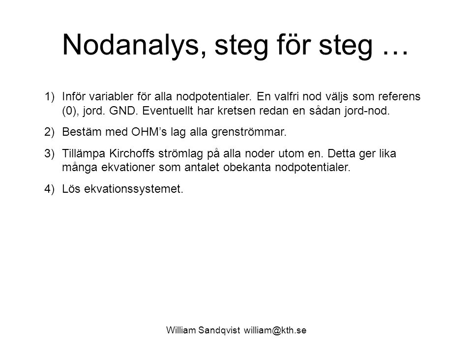 Nodanalys, steg för steg …