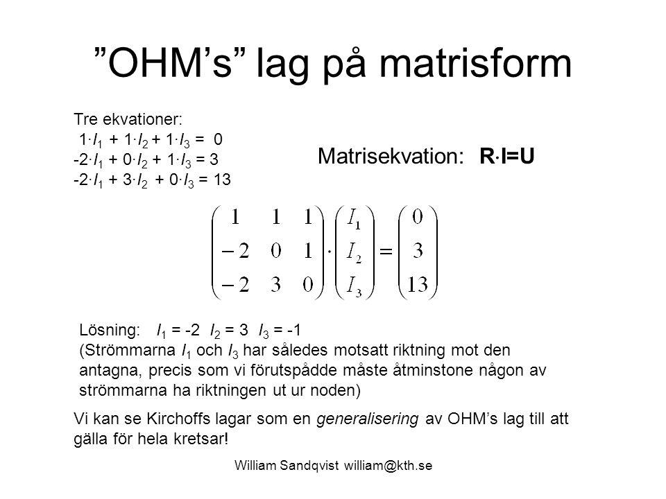OHM's lag på matrisform