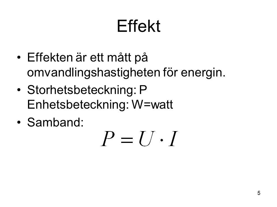 Effekt Effekten är ett mått på omvandlingshastigheten för energin.