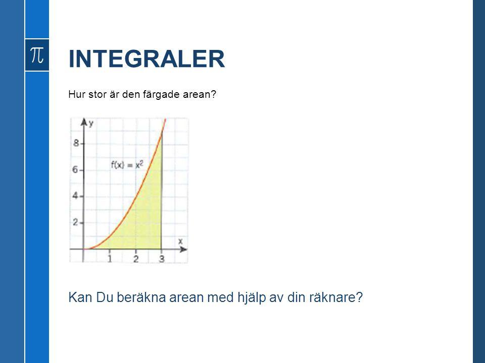 INTEGRALER Kan Du beräkna arean med hjälp av din räknare