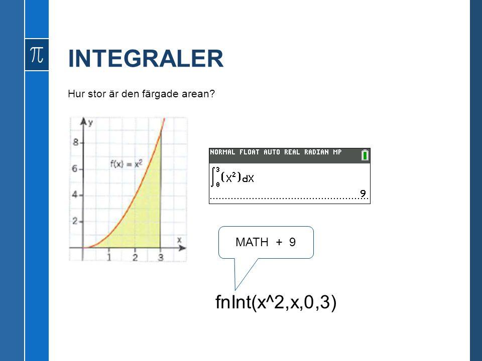 INTEGRALER Hur stor är den färgade arean MATH + 9 fnInt(x^2,x,0,3)