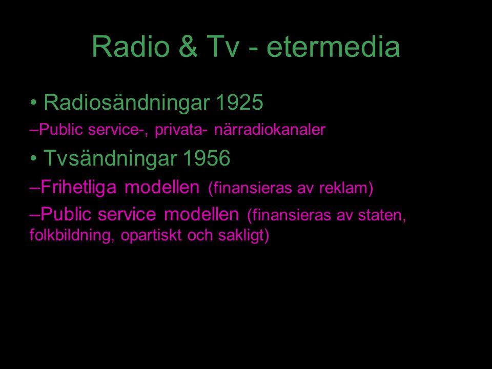 Radio & Tv - etermedia Radiosändningar 1925 Tvsändningar 1956