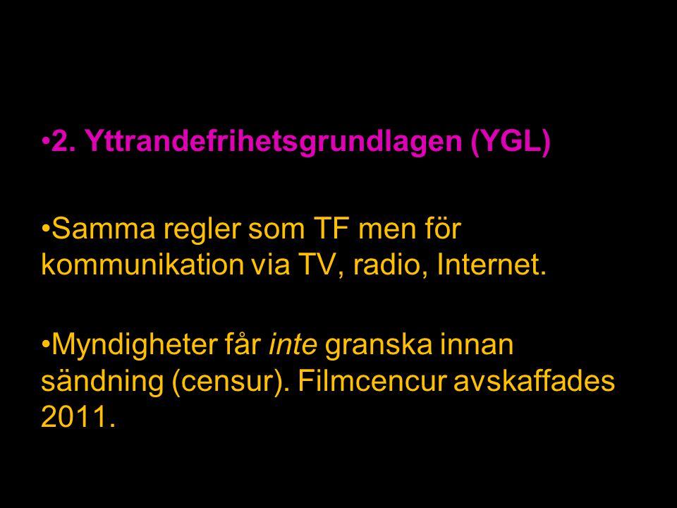 2. Yttrandefrihetsgrundlagen (YGL)