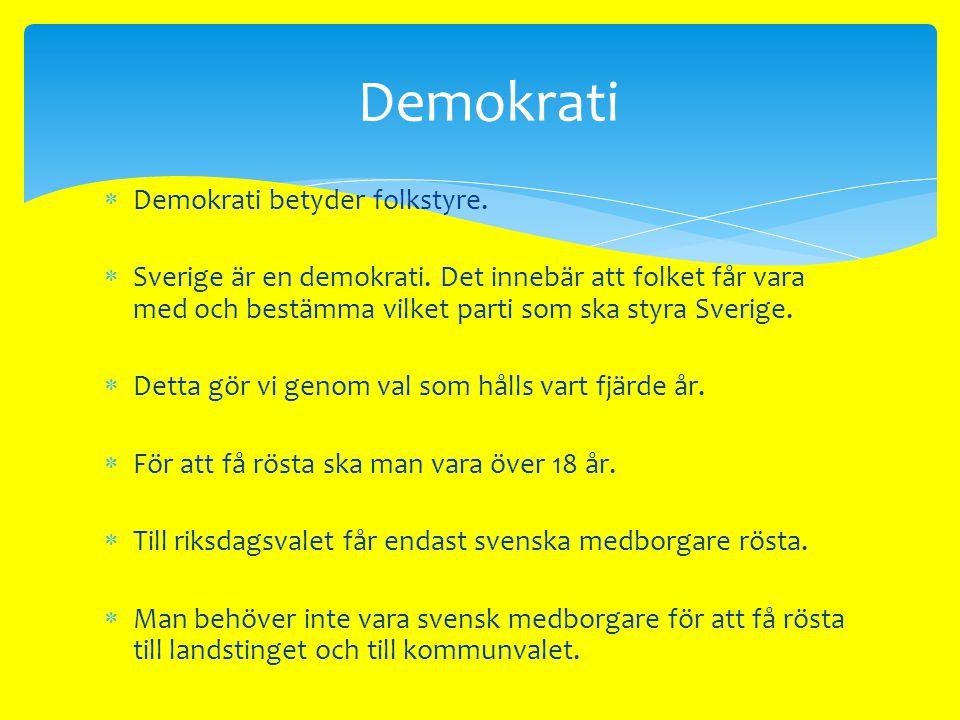 Demokrati Demokrati betyder folkstyre.