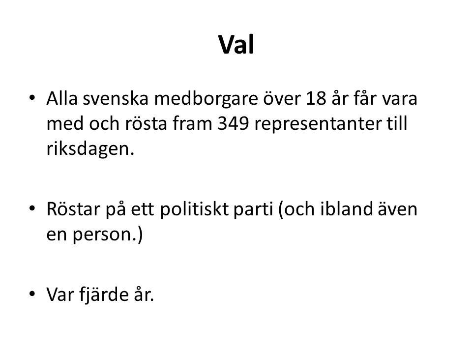 Val Alla svenska medborgare över 18 år får vara med och rösta fram 349 representanter till riksdagen.