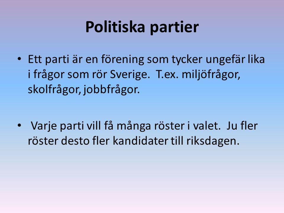 Politiska partier Ett parti är en förening som tycker ungefär lika i frågor som rör Sverige. T.ex. miljöfrågor, skolfrågor, jobbfrågor.