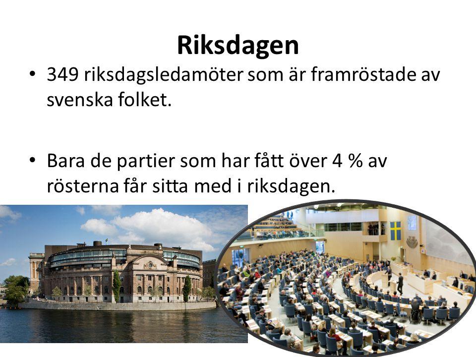 Riksdagen 349 riksdagsledamöter som är framröstade av svenska folket.