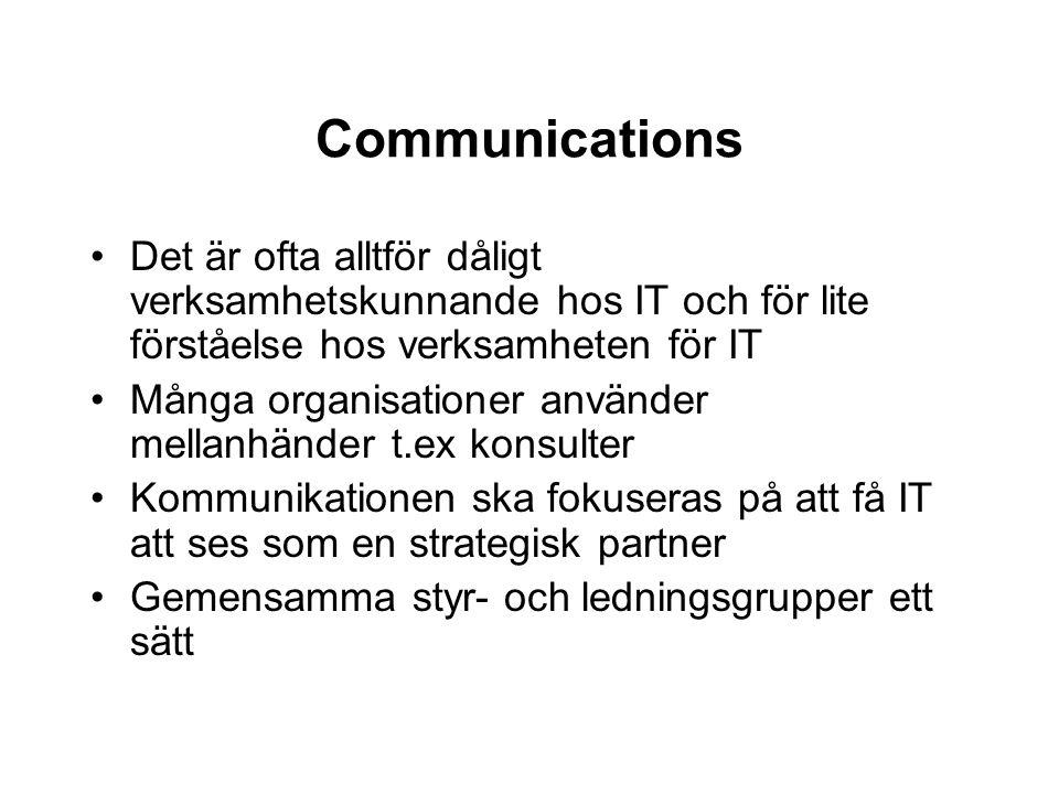 Communications Det är ofta alltför dåligt verksamhetskunnande hos IT och för lite förståelse hos verksamheten för IT.