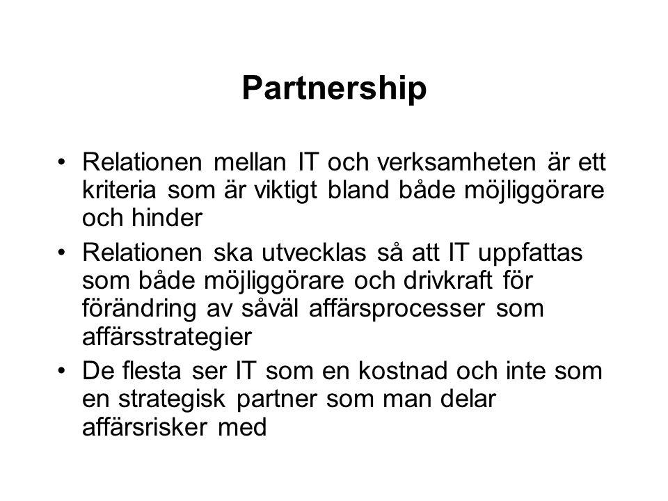 Partnership Relationen mellan IT och verksamheten är ett kriteria som är viktigt bland både möjliggörare och hinder.