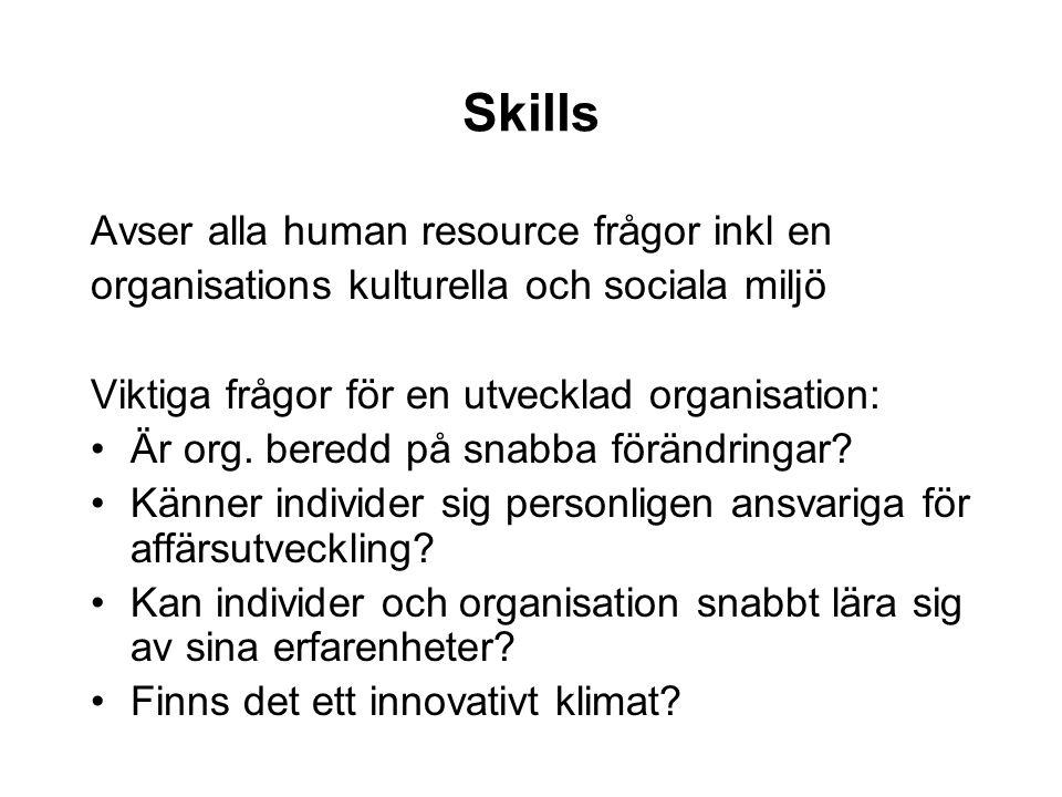 Skills Avser alla human resource frågor inkl en