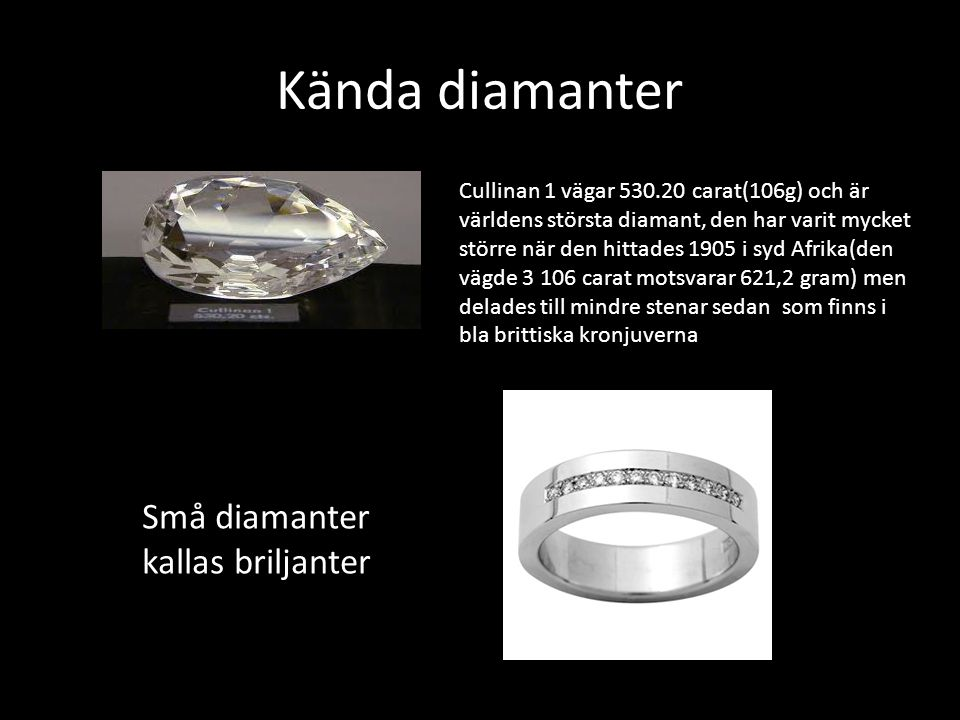 Kända diamanter r Små diamanter kallas briljanter