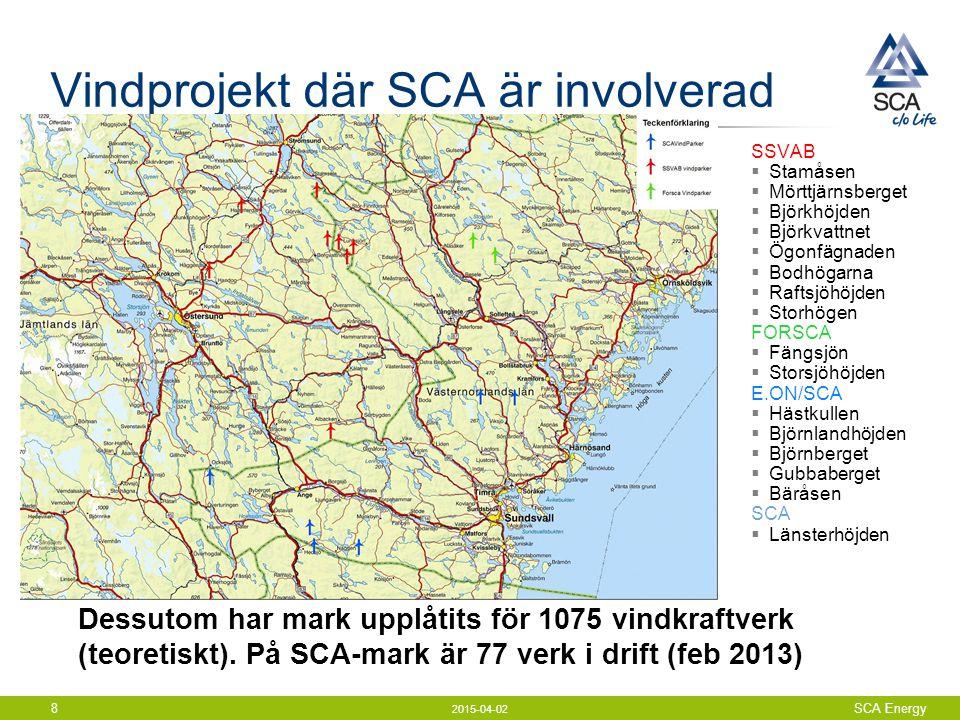 Vindprojekt där SCA är involverad