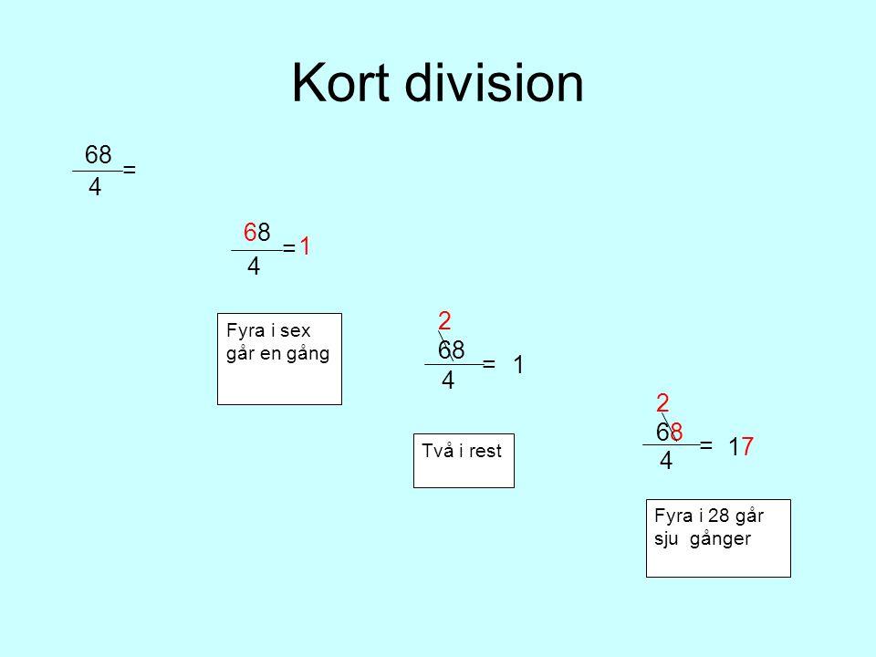 Kort division 68. 4. = 1. 68. 4. = 68. 4. = 2. 1. Fyra i sex går en gång. 68. 4. = 17.