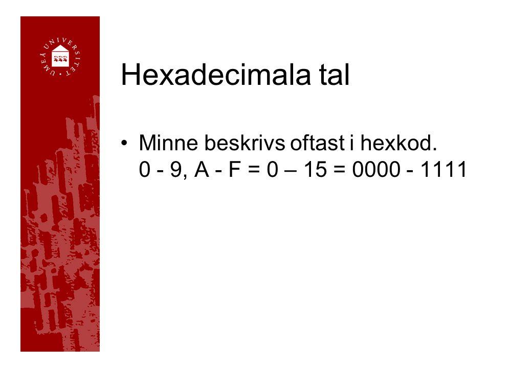 Hexadecimala tal Minne beskrivs oftast i hexkod. 0 - 9, A - F = 0 – 15 = 0000 - 1111