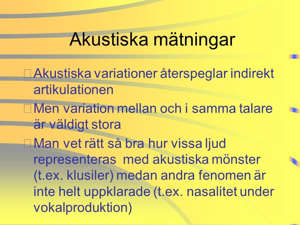 Akustiska mätningar Akustiska variationer återspeglar indirekt artikulationen. Men variation mellan och i samma talare är väldigt stora.