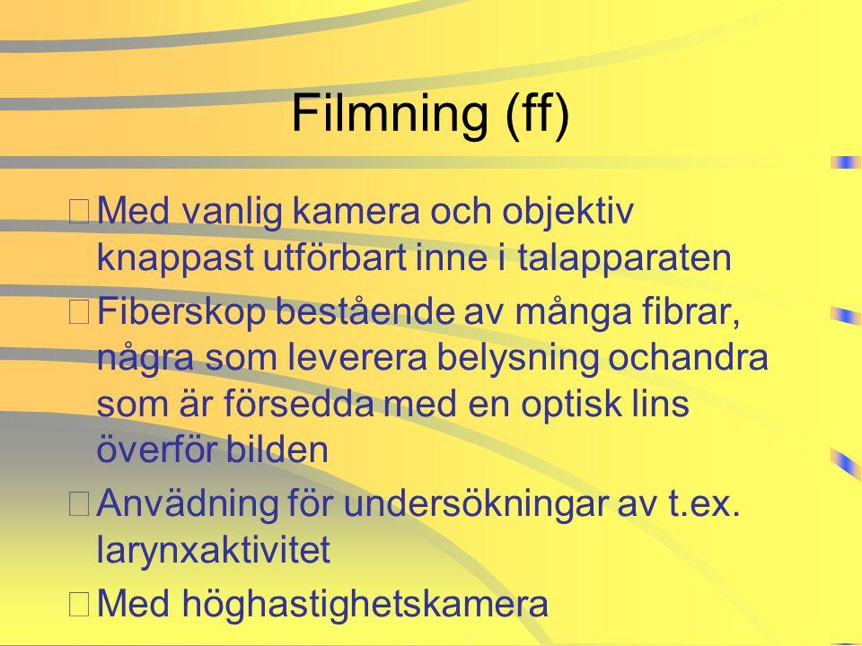 Filmning (ff) Med vanlig kamera och objektiv knappast utförbart inne i talapparaten.