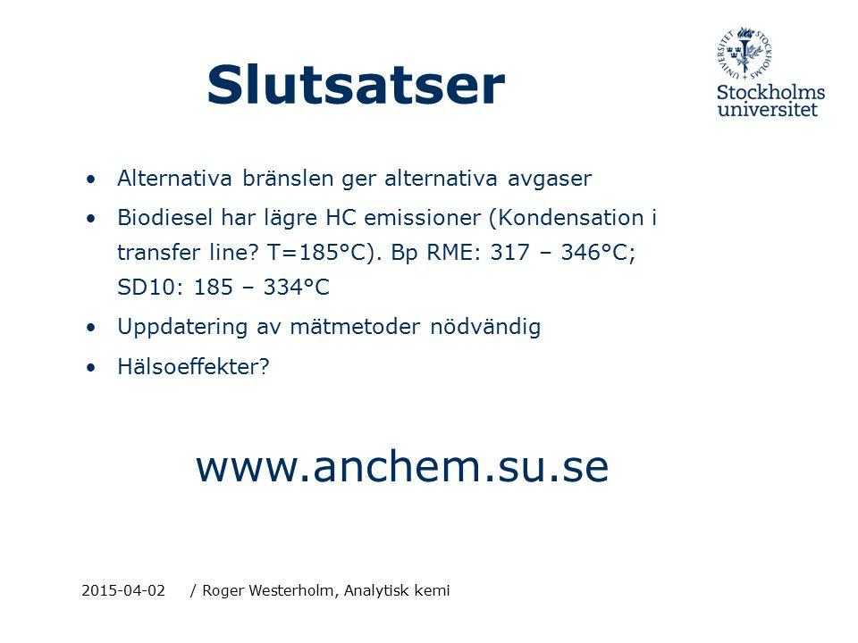 Slutsatser www.anchem.su.se