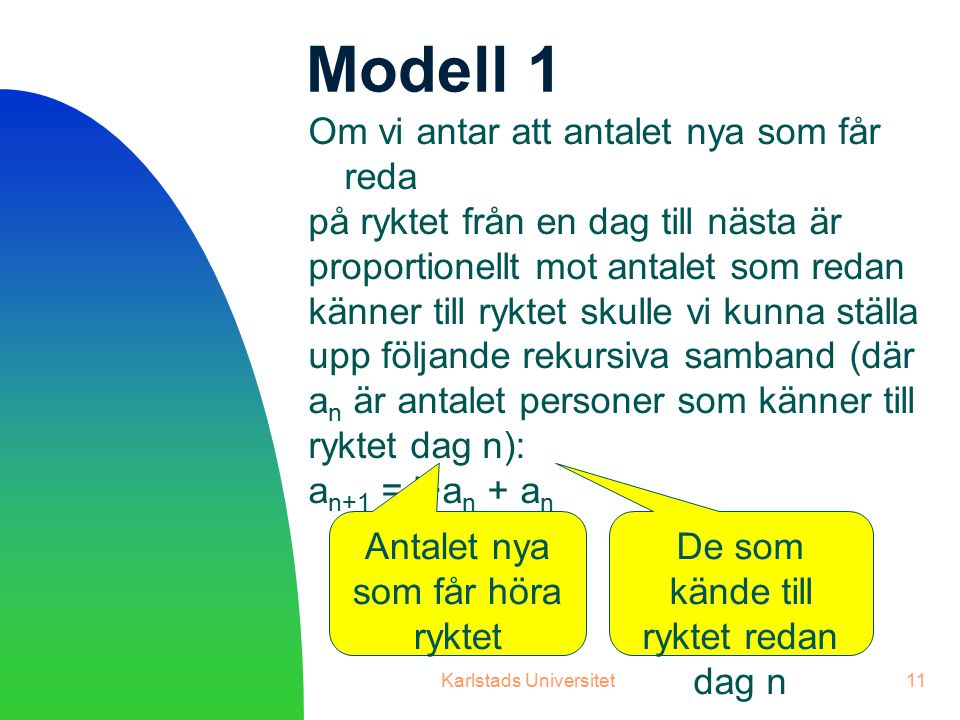 Modell 1 Om vi antar att antalet nya som får reda