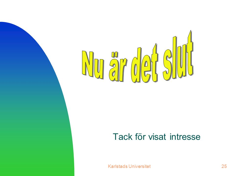 Nu är det slut Tack för visat intresse Karlstads Universitet