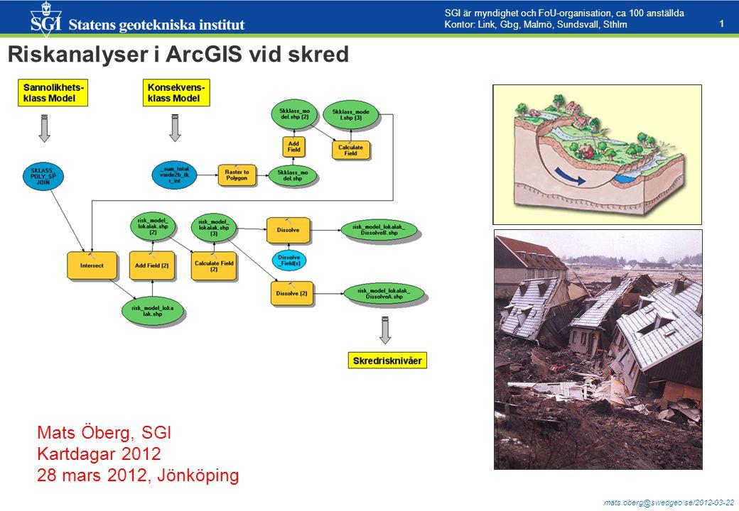 Riskanalyser i ArcGIS vid skred