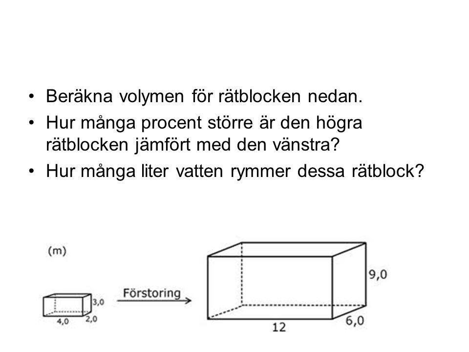 Beräkna volymen för rätblocken nedan.