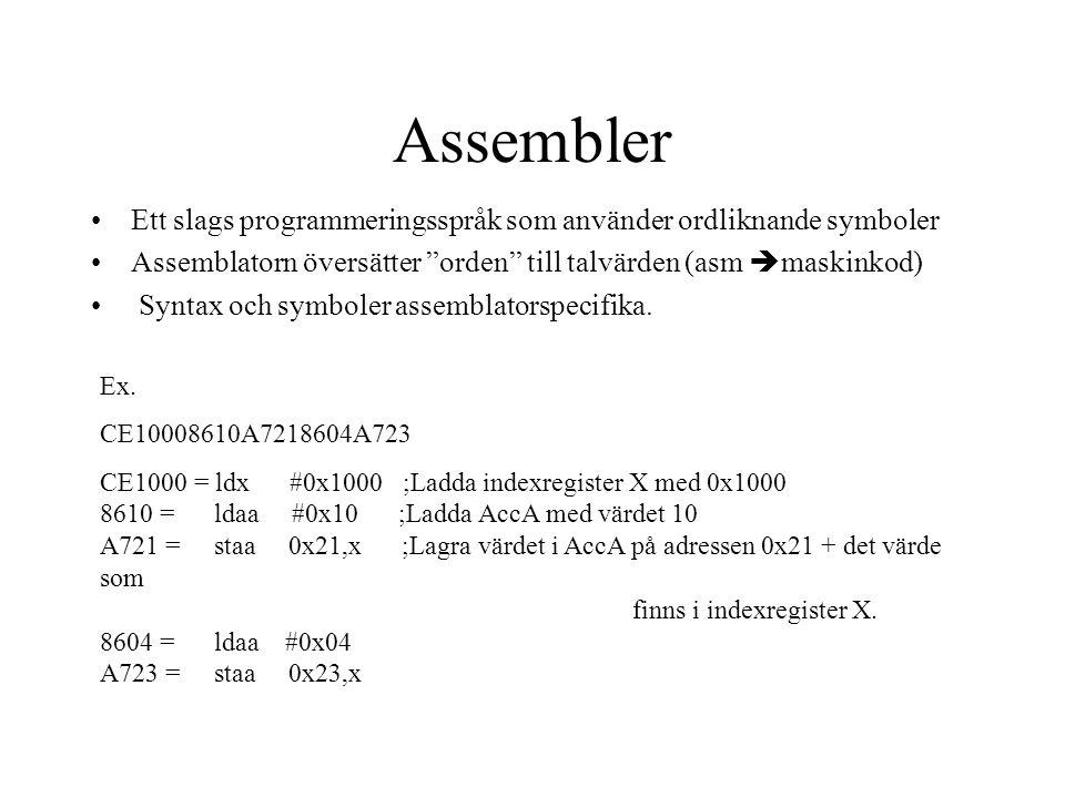 Assembler Ett slags programmeringsspråk som använder ordliknande symboler. Assemblatorn översätter orden till talvärden (asm maskinkod)