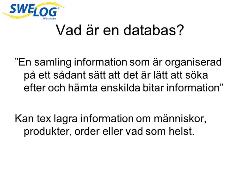 Vad är en databas En samling information som är organiserad på ett sådant sätt att det är lätt att söka efter och hämta enskilda bitar information