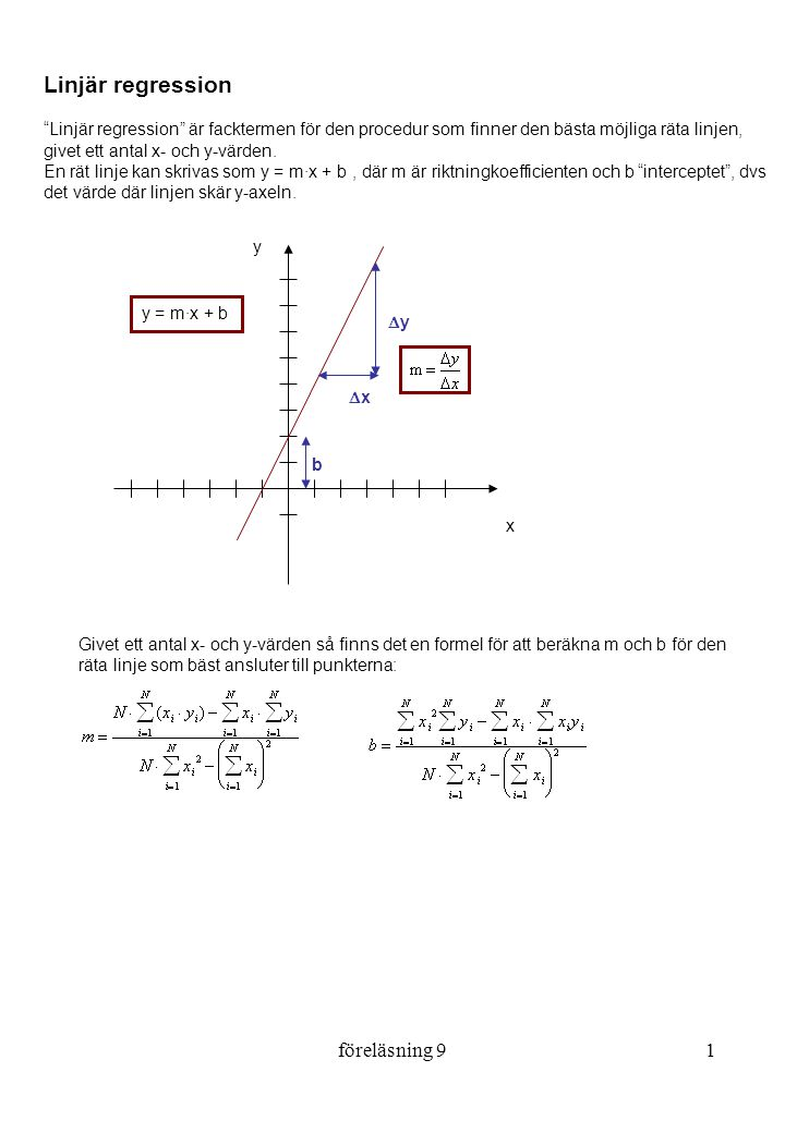 Linjär regression föreläsning 9
