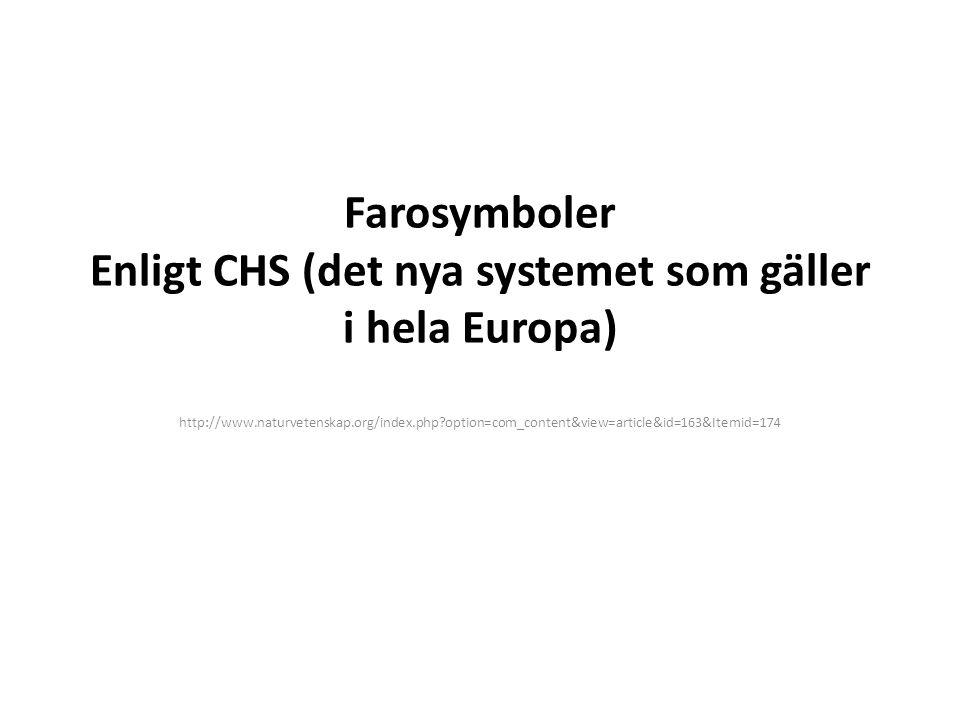 Farosymboler Enligt CHS (det nya systemet som gäller i hela Europa)