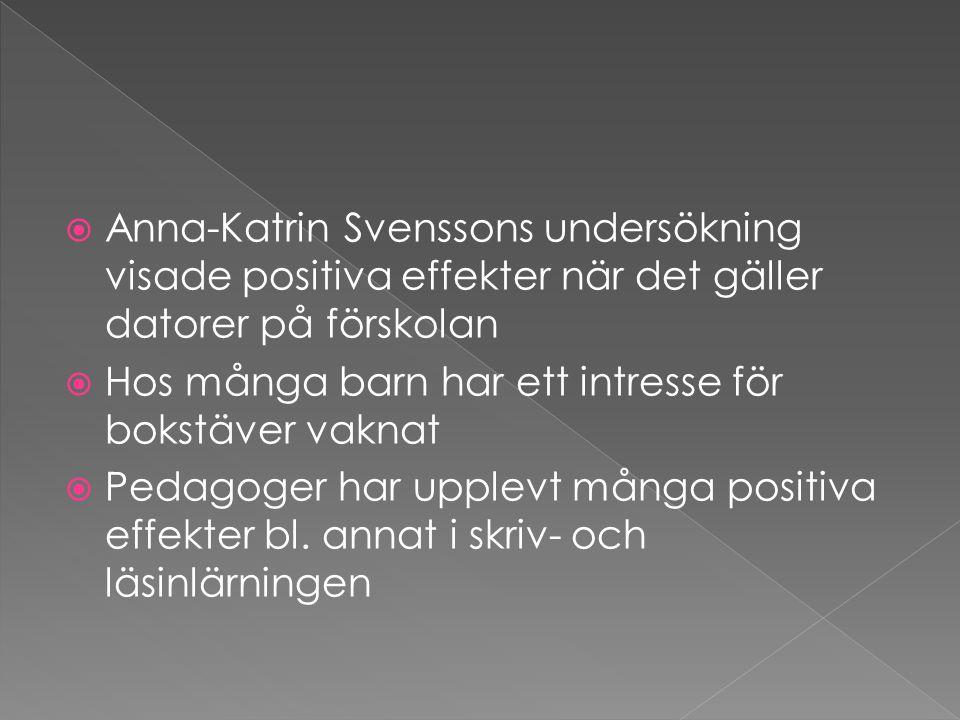 Anna-Katrin Svenssons undersökning visade positiva effekter när det gäller datorer på förskolan