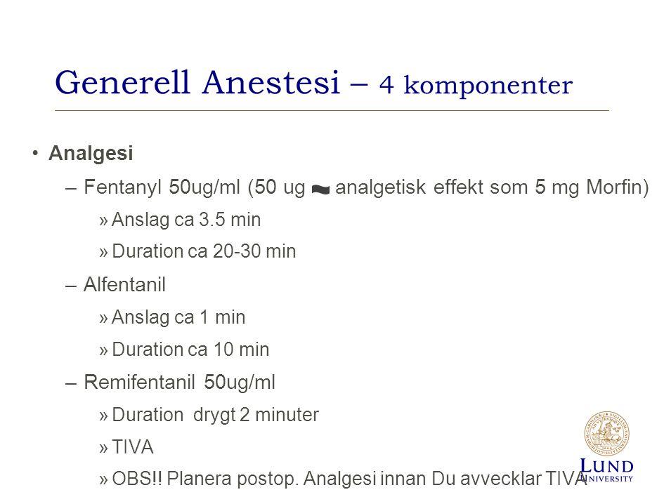 Generell Anestesi – 4 komponenter