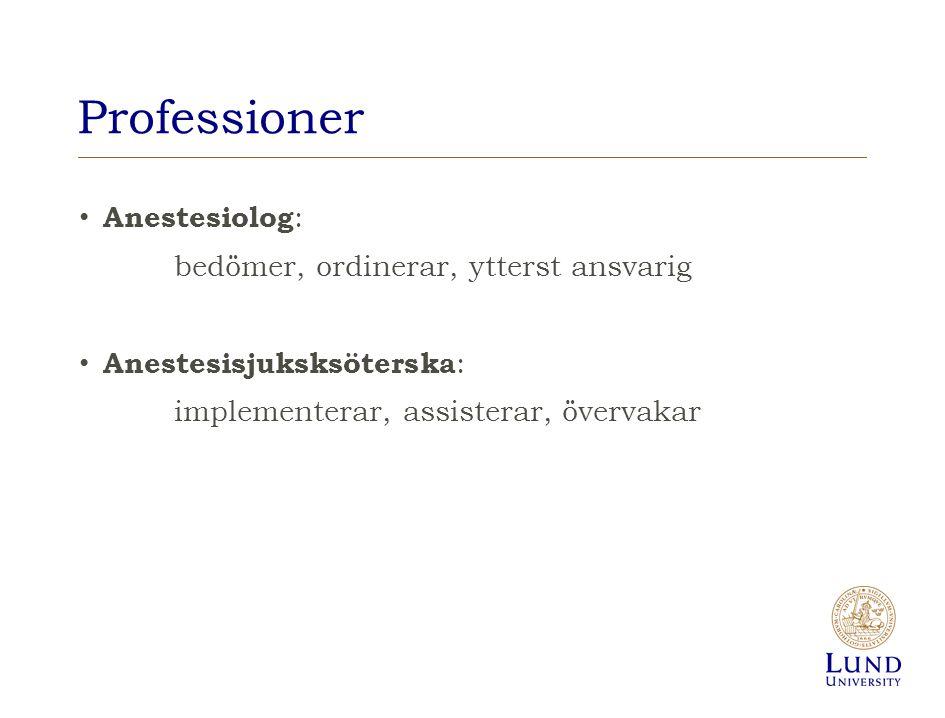 Professioner Anestesiolog: bedömer, ordinerar, ytterst ansvarig