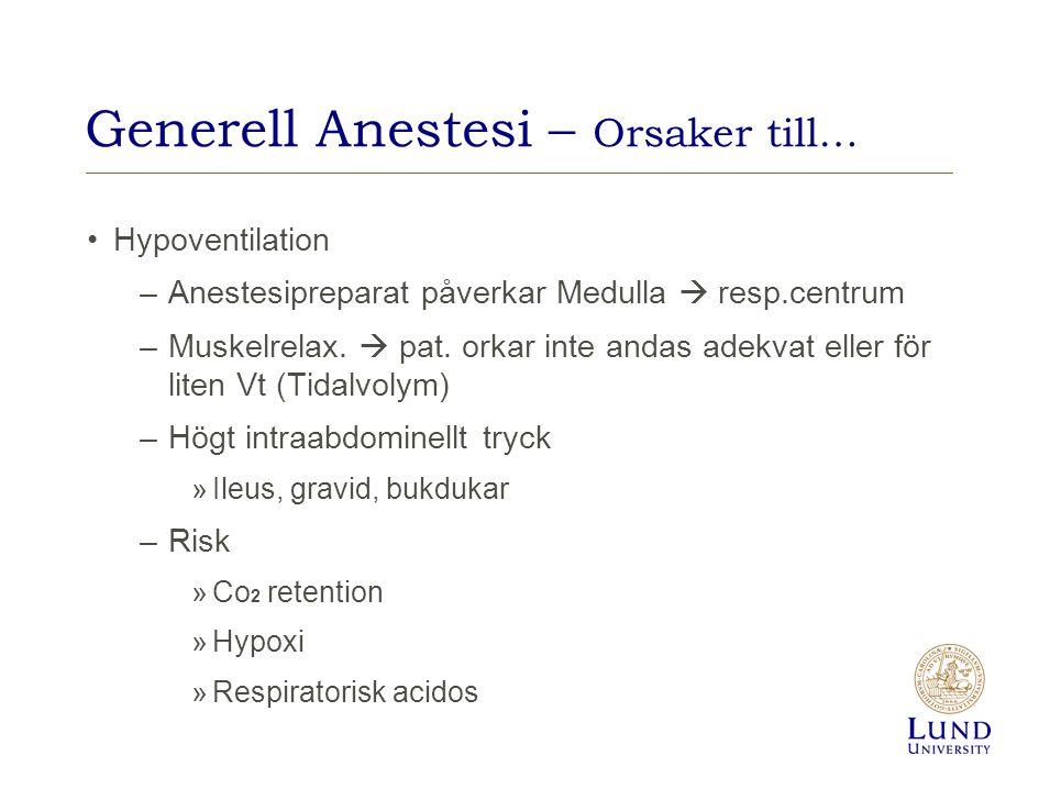 Generell Anestesi – Orsaker till…
