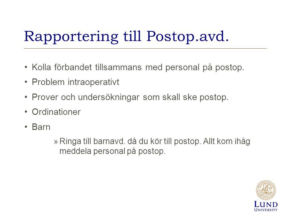 Rapportering till Postop.avd.